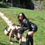 Lady Ezada Sinn walking Her pony slave