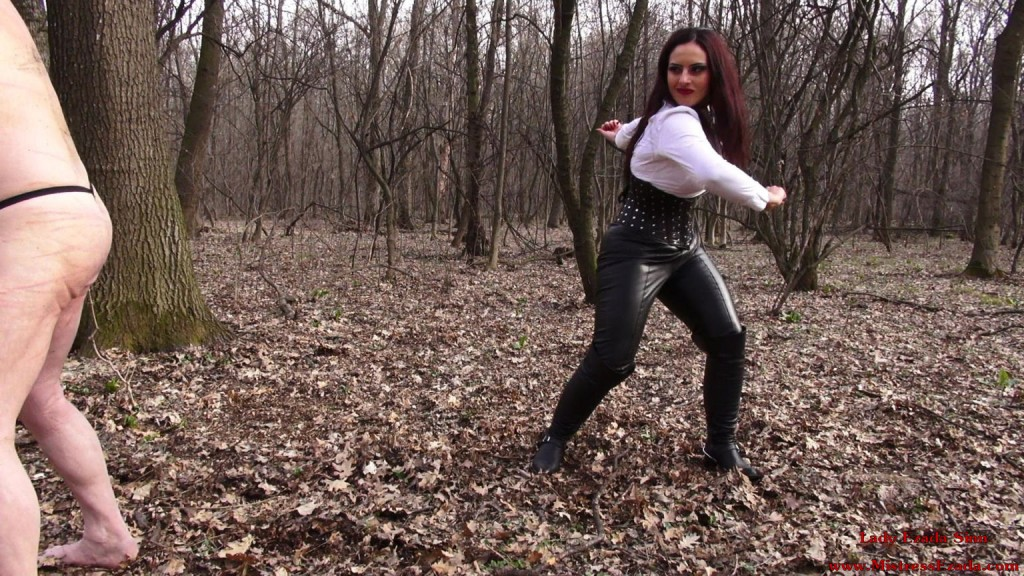 Hard single tail whipping - Mistress Ezada Sinn puhishing her slave in the forest