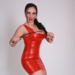 Mistress Ezada in red latex dress