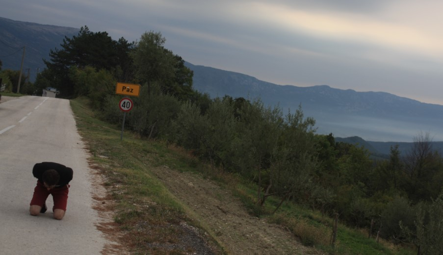 On my knees on the road in Pula province – Croatia