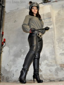 Goddess Ezada Sinn boots leather pants