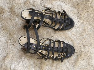 well worn black leather straps sandals 1