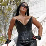 Leather London Mistress Ezada Sinn boots corset sun glasses