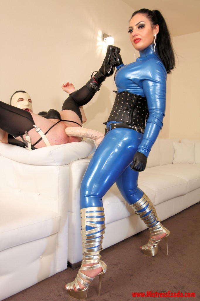 blue latex strap-on training Ezada Sinn