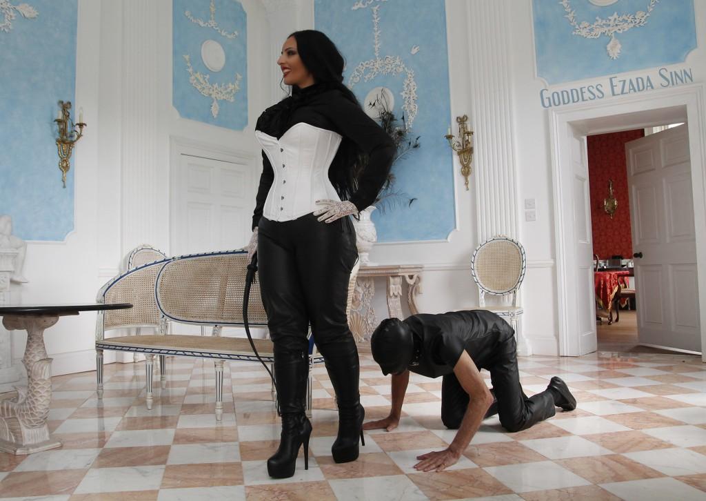 Goddess Ezada Sinn leather boots worship femdom