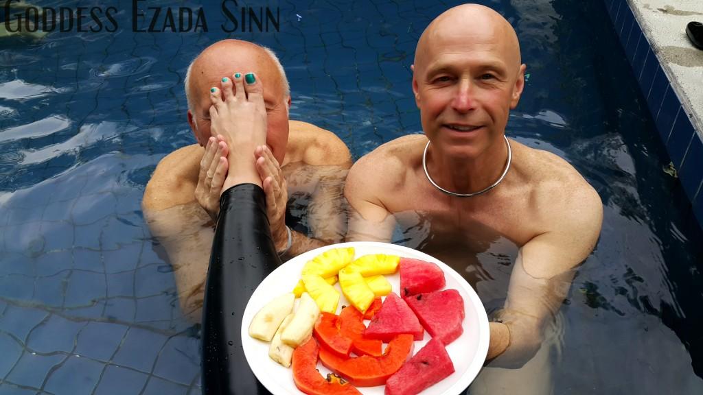 Goddess Ezada Sinn fruits pool side slavery