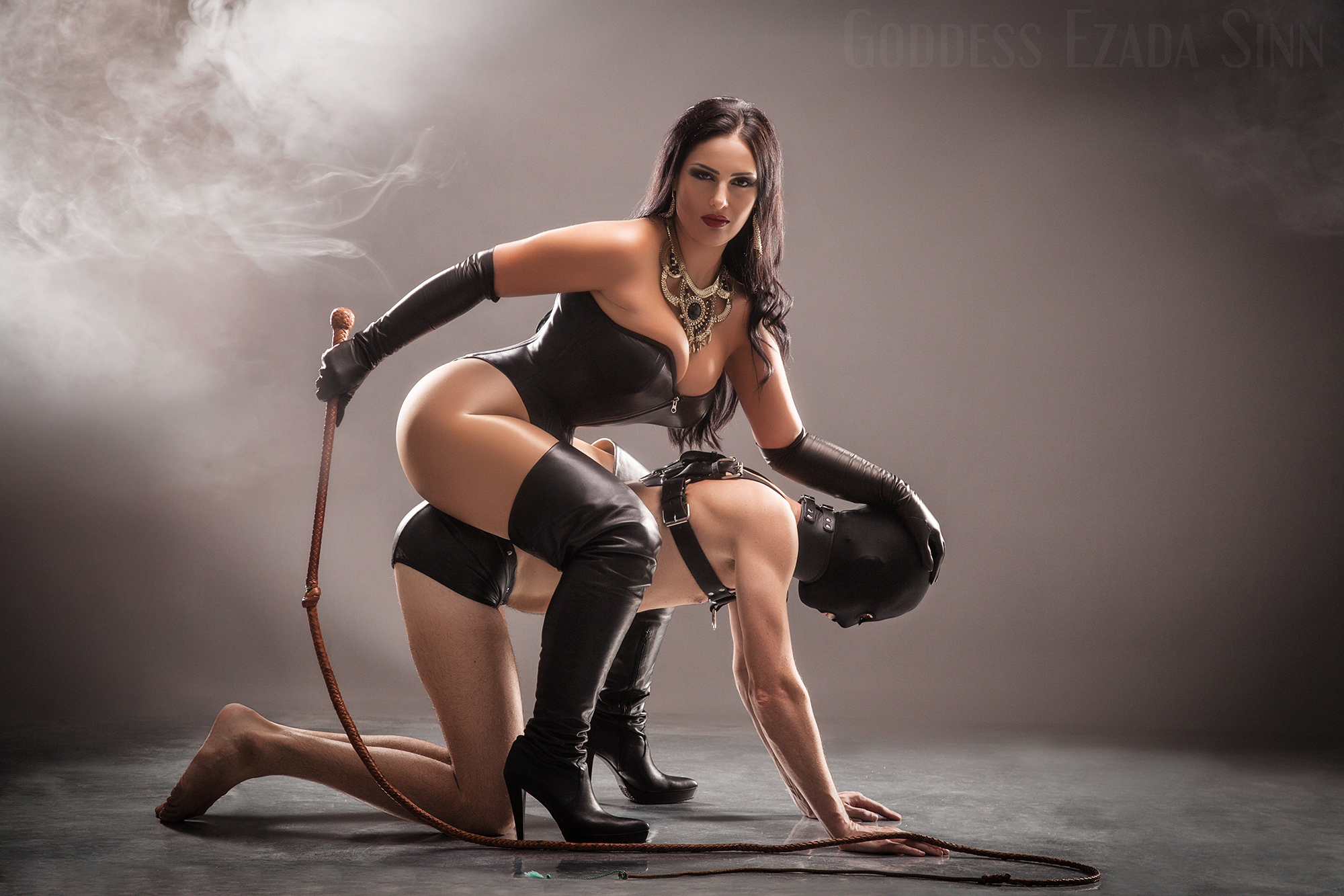 Goddess Ezada Sinn leather female supremacy femdom whip boots slavery