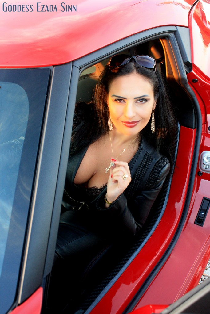 Goddess Ezada Sinn red sport car chastity