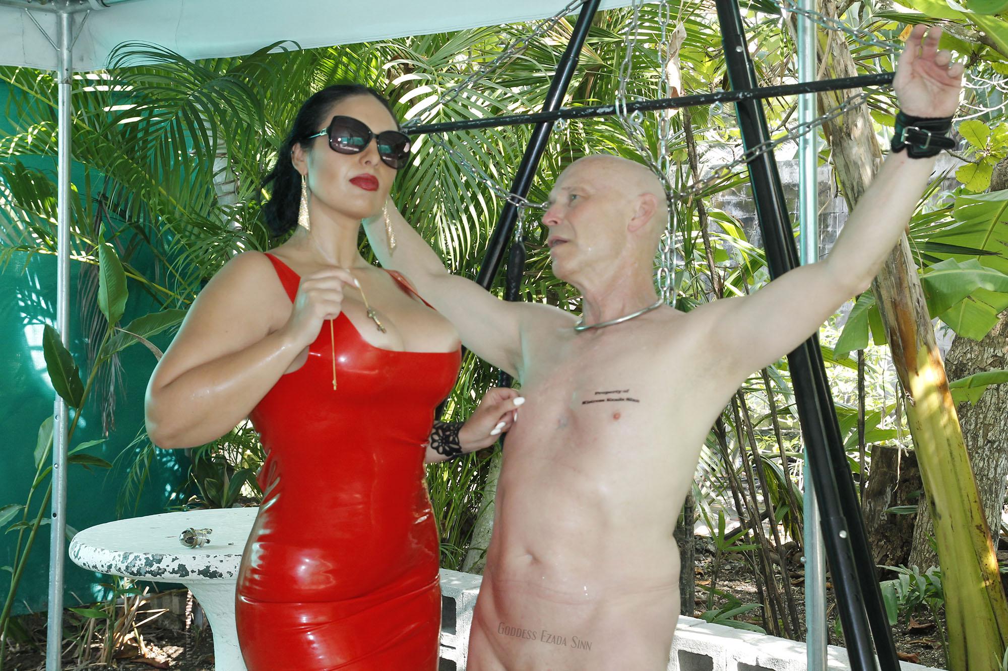 Ezada Sinn red latex slave sit female supremacy