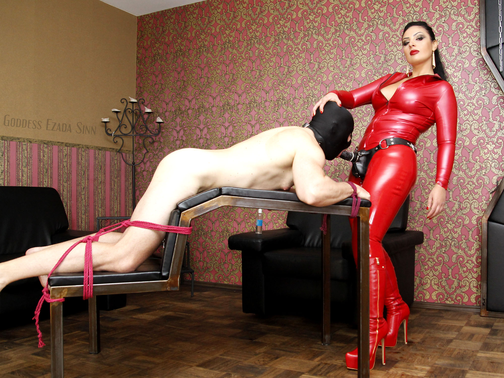 pegging little bitch red latex femdom