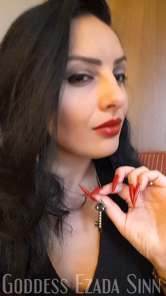 Goddess Ezada Sinn chastity holder key