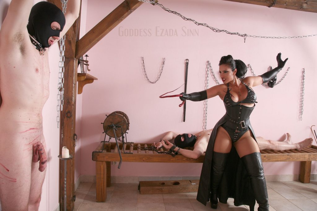 Goddess Ezada Sinn leather cock whipping hardcore femdom