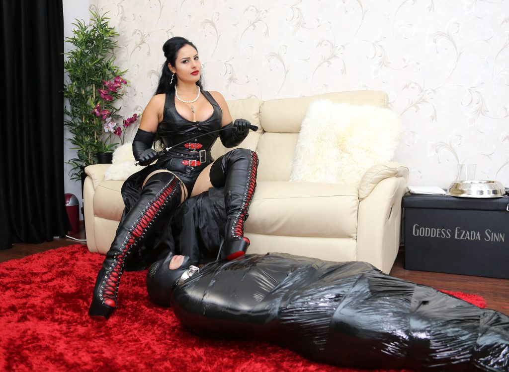 Goddess Ezada Sinn boots leather toilet training