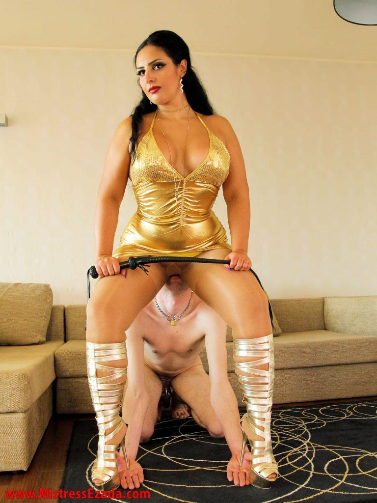 Ezada Sinn golden dress femdom