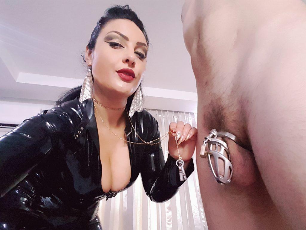Enjoy erotic chastity belt penis tease
